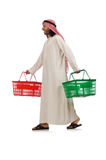 The arab man doing shopping isolated on white Stock Photo
