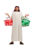 The arab man doing shopping isolated on white Royalty Free Stock Images