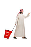The arab man doing shopping isolated on white Royalty Free Stock Photography
