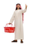 The arab man doing shopping isolated on white Stock Images