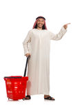 The arab man doing shopping isolated on white Royalty Free Stock Photos