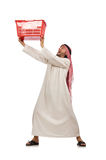 The arab man doing shopping  on white Royalty Free Stock Photo