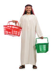 The arab man doing shopping on white Stock Photos