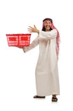 The arab man doing shopping on white Royalty Free Stock Image