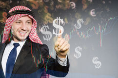 The arab man with dollars in business concept Royalty Free Stock Photo