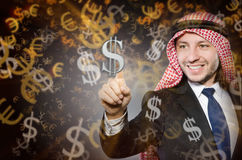 The arab man with dollars in business concept Stock Image