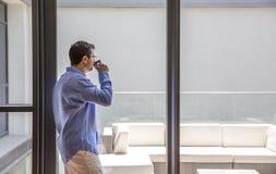 Arab man drinking coffee Stock Photography