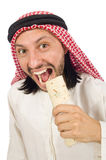 Arab man earing wrap isolated on white Royalty Free Stock Photo