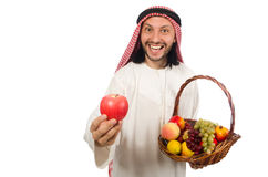 Arab man with fruits isolated on white Royalty Free Stock Photo