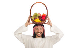 Arab man with fruits isolated on white Royalty Free Stock Images