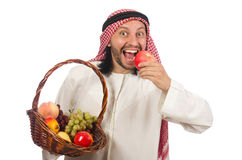 Arab man with fruits isolated on white Stock Photo