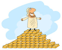Arab man and gold ingots Stock Image