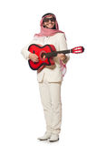 The arab man with guitar on white Royalty Free Stock Image