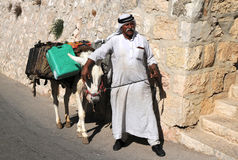 Arab Man and His Donkey Royalty Free Stock Photography