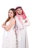 Arab man with his wife. Arab men with his wife on white Royalty Free Stock Photography