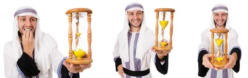 The arab man with hour-glass isolated on white. Arab man with hour-glass isolated on white stock photos