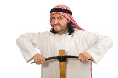Arab man with ice axe isolated on white Royalty Free Stock Photo