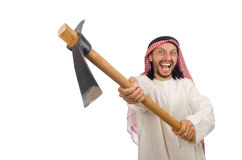 Arab man with ice axe isolated on white Royalty Free Stock Images
