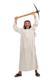 Arab man with ice axe isolated on white Stock Images