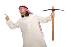 Arab man with ice axe isolated on white Stock Image