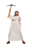 Arab man with ice axe isolated on white Royalty Free Stock Image