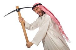 Arab man with ice axe isolated on white Royalty Free Stock Photography
