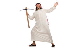The arab man with ice axe isolated on white Royalty Free Stock Photos