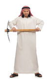 The arab man with ice axe isolated on white Stock Photography