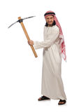 The arab man with ice axe isolated on white Stock Images