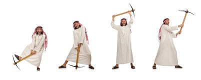 Arab man with ice axe isolated on white. The arab man with ice axe isolated on white stock image