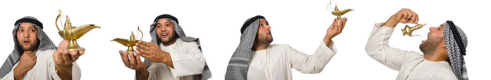 The arab man with lamp isolated on white Stock Photography