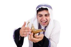 Arab man with lamp Stock Photo