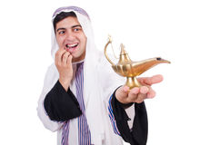 Arab man with lamp Stock Photography