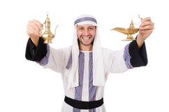 Arab man with lamp Royalty Free Stock Photography