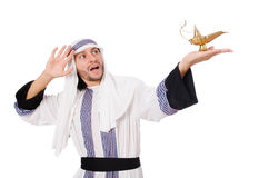 Arab man with lamp Royalty Free Stock Photo