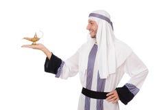 Arab man with lamp Stock Photos