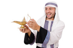 Arab man with lamp Stock Image