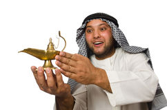 Arab man with lamp isolated Royalty Free Stock Image