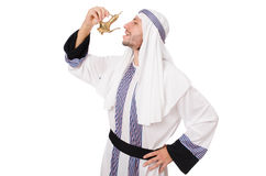 Arab man with lamp isolated Stock Image