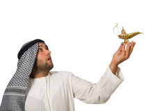 Arab man with lamp isolated Royalty Free Stock Images
