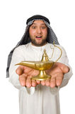 Arab man with lamp isolated Stock Photo