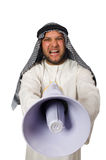 Arab man with loudspeaker isolated Royalty Free Stock Photos