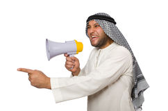 Arab man with loudspeaker isolated Royalty Free Stock Image