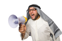 Arab man with loudspeaker isolated Royalty Free Stock Images