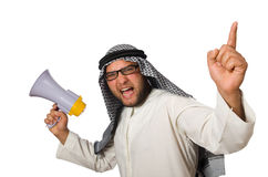 Arab man with loudspeaker isolated Royalty Free Stock Photography
