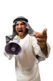 Arab man with loudspeaker isolated Royalty Free Stock Photo