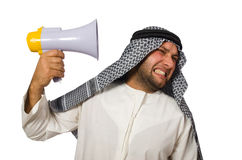 Arab man with loudspeaker isolated Stock Photos