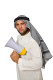 Arab man with loudspeaker isolated Stock Images