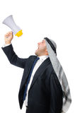 Arab man with loudspeaker isolated on white Royalty Free Stock Photos