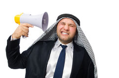 Arab man with loudspeaker isolated on white Stock Photography